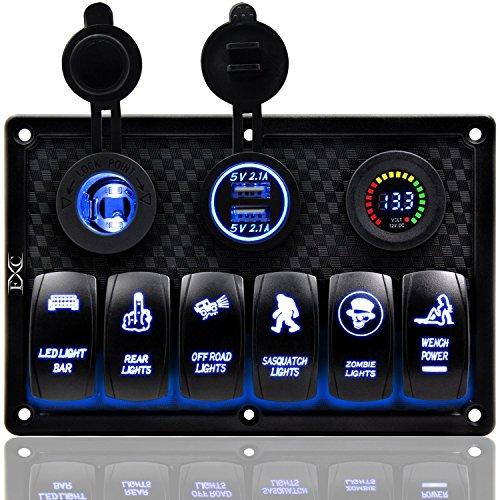 QXXZ Wasserdichter 6 Gang Marine Boot Rocker Switch Panel Mit Sicherung 4.2 EIN Dual-USB-Slot-Steckdose + Digital Voltage Display + Zigarettenanzünder LED-Licht Für Automobile Fahrzeuge LKW Digitale Sicherung