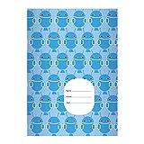 Kartenkaufrausch 8 Außerirdische DIN A4 Schulhefte, Rechenhefte mit coolen Mars Männchen, Robotern in hellblau Lineatur 22 (kariertes Heft)