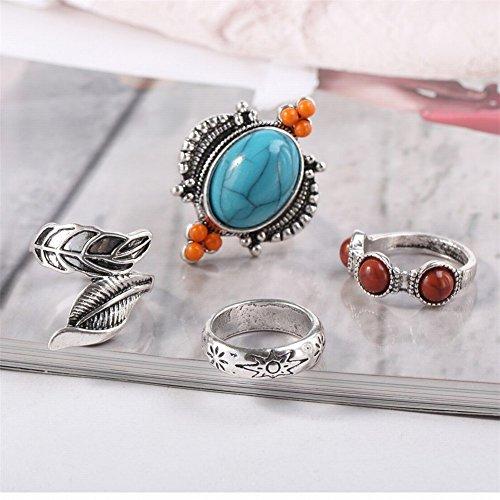 Klwkya europa e america anello a quattro pezzi retro combinazione turchese squillare completo da uomo gioielli