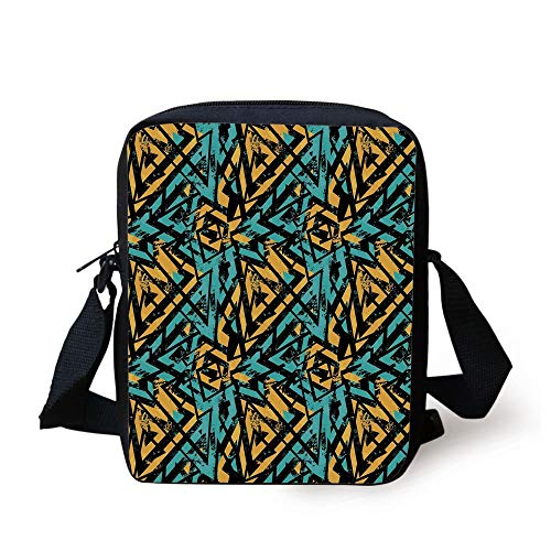 Grunge,Abstract Retro Street Art Pattern Underground Wall Paint Line Triangles,Turquoise Mustard Black Print Kids Crossbody Messenger Bag Purse (Guns Ball Pink Paint)