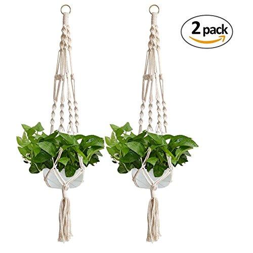 Ecjiuyi appendiabiti per piante macramè con portachiavi, cesto per fioriera rotondo e quadrato per arredamento da giardino (2 pack)