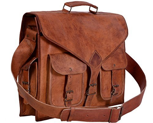 kpl 18inch Messenger de piel Vintage rústico bolsa portátil bolsa maletín...