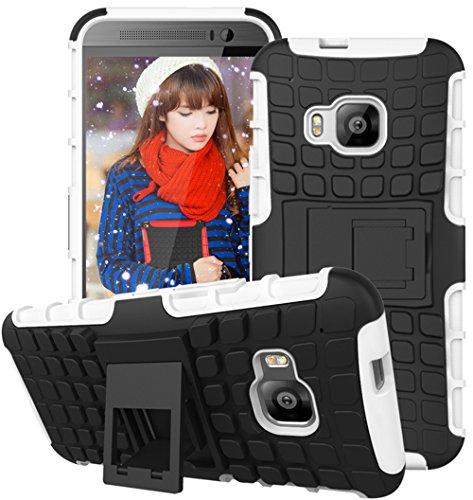 Preisvergleich Produktbild Nnopbeclik HTC One M9 Hülle,  Dual Layer Rugged Armor stoßfest Handy Schutzhülle Silikon Tasche für HTC One M9 - Weiß + 1x Display Schutzfolie Folie
