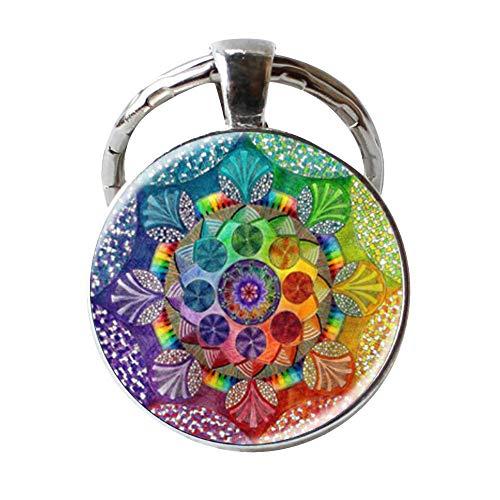 Fashion Handgefertigter Schlüsselanhänger Henna Yoga Mond Om Symbol Buddhismus Mandala Schlüsselanhänger Kunst Muster Glas Schlüsselanhänger Schmuck