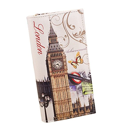 Minetom Damen Niedlich Design PU Leder Lang Geldbörse Geldbeutel Kreditkartenfächer wallet ( London 5 ) London Geldbörse