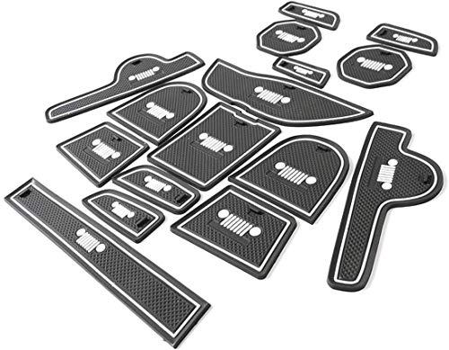 TOPPOWER Antideslizante mat , Anti- polvo mat, para Puerta interior , Taza , Caja del Brazo, Esterilla de Almacenaje para 2015-2016 Jeep Renegade 16 PCS Blanco