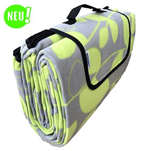 MINWAL Picknickdecke XXL (200x200cm) wasserdicht, waschbar, wärmeisoliert, gepolstert mit Tragegriff für Strand, Camping, Wandern (Motiv: Blätter)