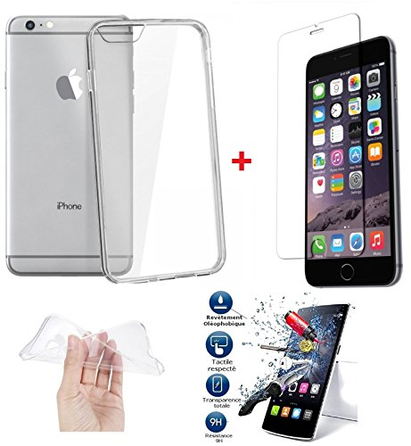 *PACK INCASSABLE iPOMCASE®* COQUE SOUPLE GEL SILICONE INCASSABLE TRANSPARENTE + FILM PROTECTEUR INCASSABLE VERRE TREMPE iPHONE 6 PLUS & 6S PLUS