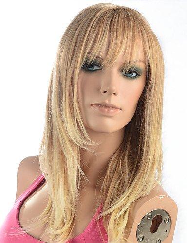 BBDM femmes de la mode des cheveux ombre naturelle blonds ondulés chaleur janpanese synthétique résistant perruque longue ligne droite , 22 inch-blonde