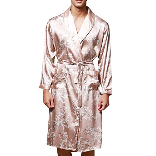 Preisvergleich Produktbild Morgenmantel Satin Pyjama Couple Herren Kimono Damen Nachthemd Nachtwäsche Set Kamel X-Large