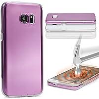 URCOVER Custodia 360 Gradi Metal Look | Samsung Galaxy A5 2016 | Cover Completa Morbida in Due Parti Fronte + Retro | Protezione Integrale 3D Salva Schermo in Fucsia