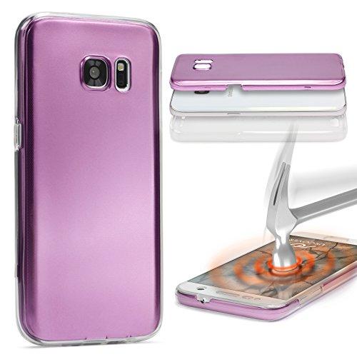 Urcover® Metalloptik Ultra Slim 360 Grad Edition | Apple iPhone 7 Plus / 8 Plus | TPU in Lila | Zubehör Tasche Case Handy-Cover Schutz-Hülle Schale Pink
