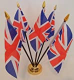 United Kingdom Union Jack Great Britain 5 Flag Desktop Centrepiece Table Display With Gold Base