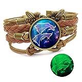 Dunbasi 12 Sternzeichen Armband Infinity Lederarmband Frauen Mädchen,Vintage Schmetterling Unendlichkeit Armbänder,Nachtleuchtender Armreif Damen Geschenke (Fische)