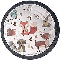 4 PCS Tiroir de Porte Poignée,Animaux de la forêt Owl Fox Raccoon,Bouton de Meubles, Unique Trou Boutons de Tiroir…
