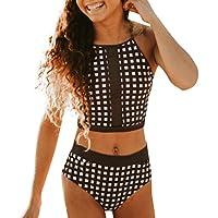 a358e572d6bb Sexy Bikini Costumi da Bagno Donna Vita Alta Beachwear Due Pezzi Stampa a  Quadri Donne Push