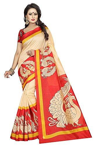 Navabi Export Cotton Silk Saree With Blouse Piece (Red Titli_Free Size)