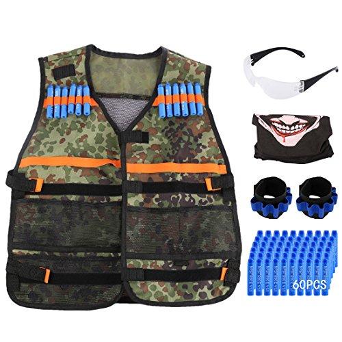 Foxom Kits de Chaleco Táctico para Nerf N-Strike Elite Serie, 2 x Correa + 1 x Gafas + 1 x Máscara + 60 x Bala suave + 1 x Chaleco