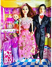 SUPER TOY Indian Family Doll Play Set for Kids - (Mother, Father and Baby Set)
