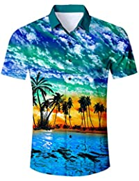 a0887119c129 Mens Hawaiian Shirt Short Sleeve Beach Holiday Jungle Animal Fancy Dress  Hawaii Vacation Shirt Coconut Tree