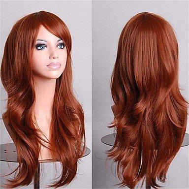 HJL-parti de la mode bon march¨¦ perruques cosplay pleine perruques synth¨¦tiques de 28 pouces de longs cheveux noirs et bruns perruque , brown