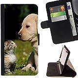STPlus Animal bonito cachorro de perro Monedero Carcasa Funda para Huawei P8 Lite (2017)