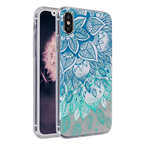 Souple Étui pour Apple iPhone X Silicone TPU, Moon mood® Portable Flexible Coque de Protection pour Apple iPhone X Soft Back Case Cover Bumper Shell Coquille Couverture TPU Doux Gel Coque Housse de Pr Motif 7