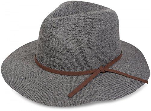 styleBREAKER Bogart Hut, Fedora Knautschhut mit Zierband in Wildlederoptik, Cowboy Hut, Damen 04025009, Farbe:Grau (Stroh Feine Fedora)