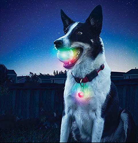 LED-Beleuchtung Glowing Rubber Pet Dog Ball Spielzeug Outdoor-Training Kauen Beißen Spielzeug Heimtierbedarf Für das Nachtspiel, Dark Dog Ball Zahnreiniger -