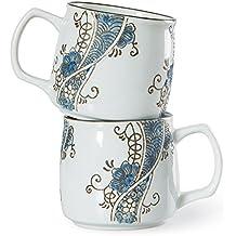 Chinzee Tazas de Café Leche Té (250ml/8.8oz) Porcelana Pintado a Mano - Juego de 2 Tazas En Una Caja de Regalo Para Boda Pareja