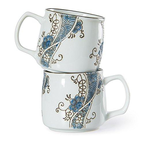 Chinzee Tazas de Café Leche Té (250ml/8.8oz) Porcelana Pintado a Man