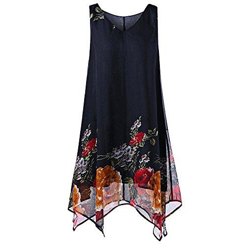 VJGOAL Damen Weste Elegant Sommer Top Frauen Mädchen Kleiden Plus Size Drucken Unregelmäßig Hem Ärmellos T-Shirt(Marine,40)