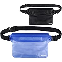 zacro Universal Waterproof Pouch with Waist Strap (2 Pack) for Beach, Swimming, Boating, Fishing, Camping - Protect Your iPhone, Camera, Cash, MP3, Passport, Documents from Water, Snow,Sand and Dirt