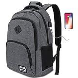 YAMTIOM Laptop Rucksack,Rucksack Herren mit USB-Ladeanschluss Schulrucksack Jungen Teenager mit 15,6 Zoll Laptopfach für Arbeit Schule Reise,35L
