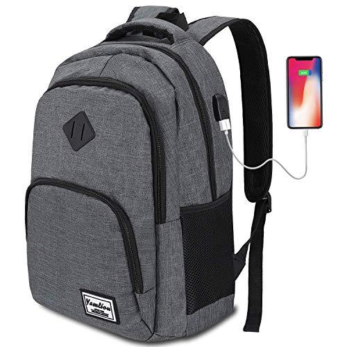 YAMTIOM Laptop Rucksack,Rucksack Herren mit USB-Ladeanschluss Schulrucksack...