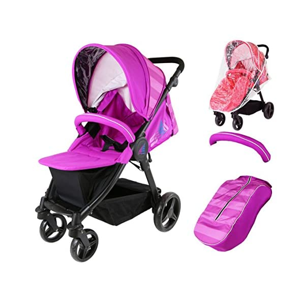 Sail Stroller - Plum Includes Bumper Bar Rain Cover Bootcover Sail Seamless Ride, High Built Quality, Amazing Features Media Viewing Tablet Pocket + One Hand Fold Away Extendable Hood, Provides Additional Shade And Privacy 1