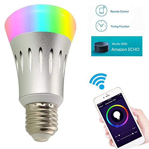YUNI Smart WiFi Bulb LED Bulb Alexa Smartphone Remote Controlled 7W RGB Led Bulb E27 Alexa White and Dimmable Multicolored No Hub 60 W Equivalent Remote Controlled by Smartphone IOS/Android (E27 WHITE)