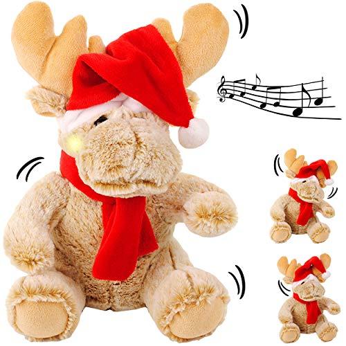 alles-meine.de GmbH XL - singendes & tanzendes - Rentier / Elch mit Mütze - I Wish You a Merry Christmas - Plüschtier mit Sound & Bewegung - Lied - 28 cm - aus Stoff / Plüsch - W..