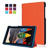 Lenovo Tab3-710F Tasche,Flip Case Cover PU Leder Etui Tasche mit Standfunktion Schutzhülle für Lenovo Tab 3 710F / Tab 3 7 Essential (7 Zoll) Tablet Leder Hülle Ultra Slim Lederetui Schale (Orange)