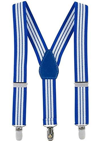 Buyless Fashion Kinder und Baby 2,5 cm Elastische verstellbare Y Hosenträger - Mit starken Clips - 5102 Farbe: Royal Blue-White | Größe: 66 cm (3-9 Jahre) (Hosenträger Royal Blue)