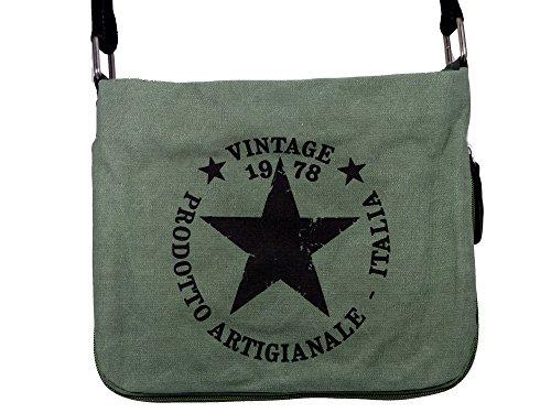 Coole Canvas Style Umhängetasche - Vintage Stern - Vernietung an der Seite - umlaufender Reißverschluß - Damen Mädchen Teenager Tasche Army Green