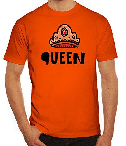 Geschenkidee Herren T-Shirt mit Crown Queen Motiv von ShirtStreet Orange