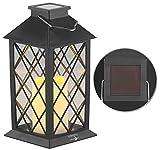 Lunartec Solarleuchte: Solar-Laterne mit Deko-Kerze und Flammen-Effekt-LED, Dämmerungs-Sensor (Solargartenlaterne)
