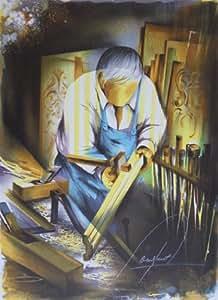 Lithographie originale signée de Raymond POULET - Les vieux métiers : l'ébéniste
