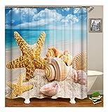 XIAOXINYUAN 3D Digitaldruck Seestern Shell Polyester Duschvorhang Wasserdicht und Schimmel Bad Vorhang Zubehör 180×200Cm