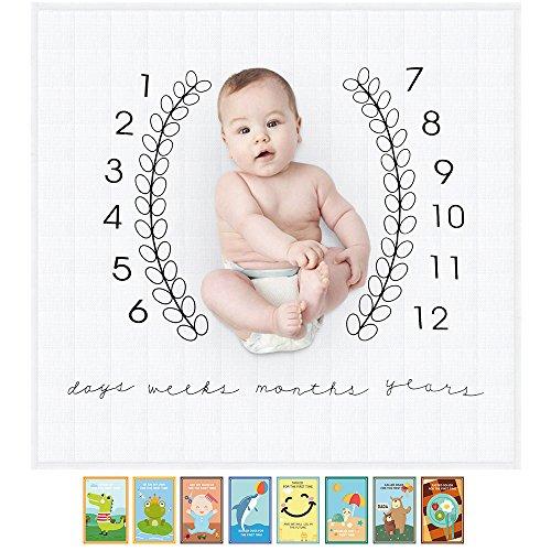 JooBebe Fotohintergrund-Decke für Babyfotos mit monatlichem Meilenstein-Druckmuster und Baby-Meilenstein-Karten Neugeborenes Baby Fotografie Requisiten 101.6cm X 101.6cm
