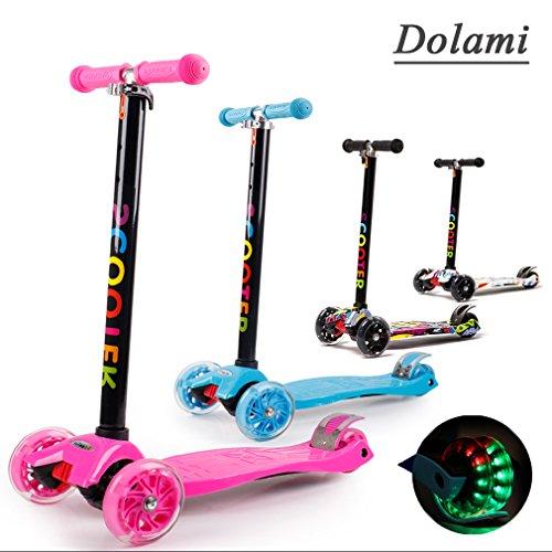 Dolami Twist & Roll Trottinettes à 3 roues pour enfant avec lumière LED Freestyle mini patinette scooter,Rose(3-10 ans, Max .Charge: 60 kg) + Kit de protection(Guidon réglable en hauteur)
