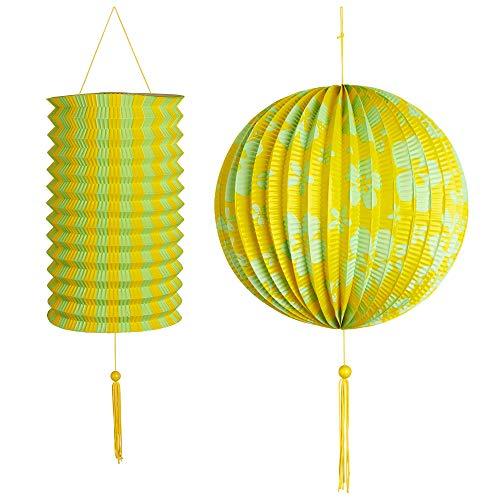 Kostüm Insel Party Motto - WIDMANN 02530 Lampion 2er Set, Unisex- Erwachsene, Gelb/Grün