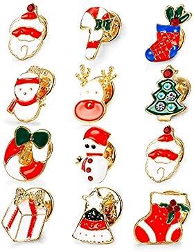Sailimue 12 Stück Weihnachten Frauen Brosche für Damen Mädchen Brosche Pullover Schal Bekleidungs Dekor Schmuck