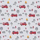 Fabulous Fabrics Baumwolljersey Stoff Feuerwehr – Grau